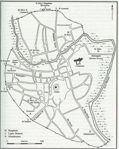 Map of the hospitals of medieval Norwich, taken from C. Rawcliffe, Medicine for the Soul: The Life, Death and Resurrection of and English Medieval Hospital. St Giles's, Norwich, c. 1249-1550 (Stroud, 1999), p. 3