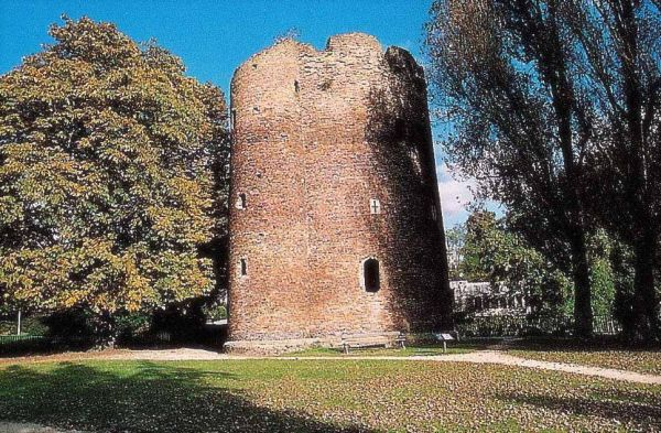 Photograph of the 'Cow' tower which stood at the north-eastern extremity of the hospital precinct, on a bend in the river Wensum. Photographer: C. Bonfield