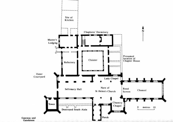 Ground plan of St Giles' hospital, taken from C. Rawcliffe, Medicine for the Soul