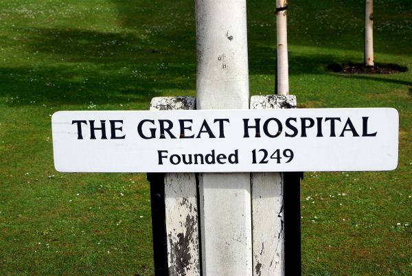 Photograph of The Great Hospital sign. Photographer: C. Bonfield